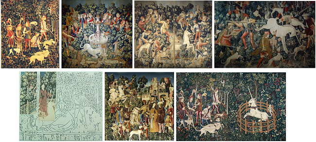The hunt of the unicorn tapestries.
